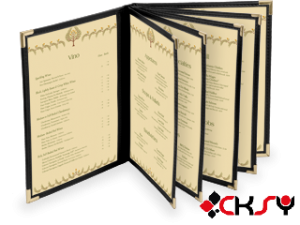 Hardcover Menu with clear pocket